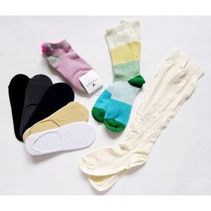 LOT 8 Pairs Knee High/No Show/Ankle Socks One Size
